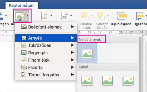 A Képeszközök formátum lap a kiemelt Képeffektusok.