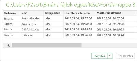 Az egyesítendő fájlokat megjelenítő Bináris fájlok egyesítése párbeszédpanel