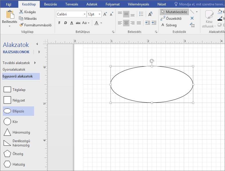 Húzzon egy alakzatot az Egyszerű alakzatok rajzsablonból a rajzlapra.