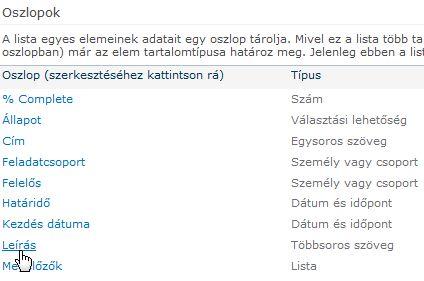 A listabeállítások Oszlopok csoportja