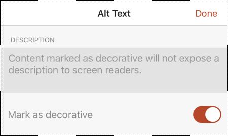 Az iOS Helyettesítő szöveg párbeszédpanelén kijelölt Megjelölés díszítőelemként beállítás PowerPoint az iOS-hez.