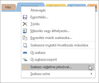 Képernyőkép: szakasz jelszavas védelmének beállítása a OneNote 2016-ban.