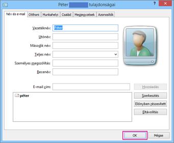 Válassza az OK gombot a CSV-fájlba importálni kívánt összes névjegyen.