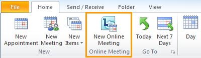 Az Új online értekezlet az Outlook Naptár nézetében