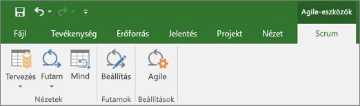 Képernyőkép a Project menüszalagjának Agile-eszközök lapjáról