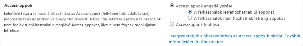 Képernyőkép az Access-appok beállításairól a SharePoint Felügyeleti központban
