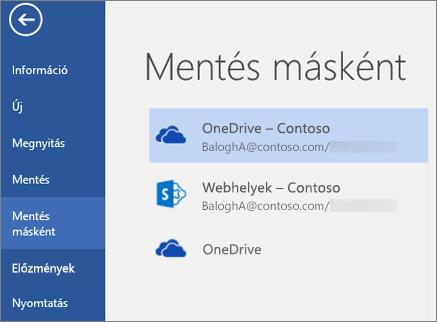 Word-dokumentum mentése a OneDrive Vállalati verzióba