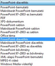 A bemutató mentése PowerPoint-vetítésként.
