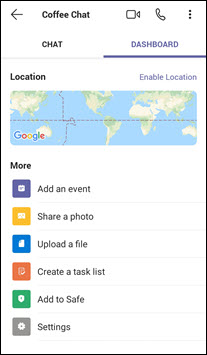 Az Android-alapú csevegés irányítópultja a Teams alkalmazásban az Ön személyes életéért