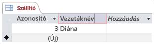 Képernyő kódtöredékének szállító táblázat azonosítójú két sorok megjelenítése