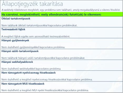 Webhelycsoport állapot-ellenőrzések eredményei