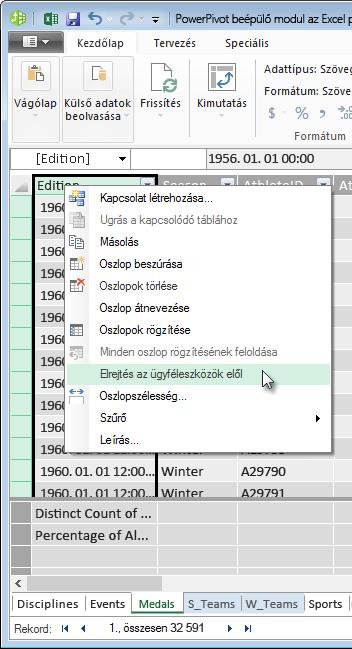 Táblák mezőinek elrejtése az Excel-ügyféleszközök elől jobb kattintással