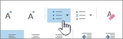 Az Outlook Felsorolás és Számozás gombja