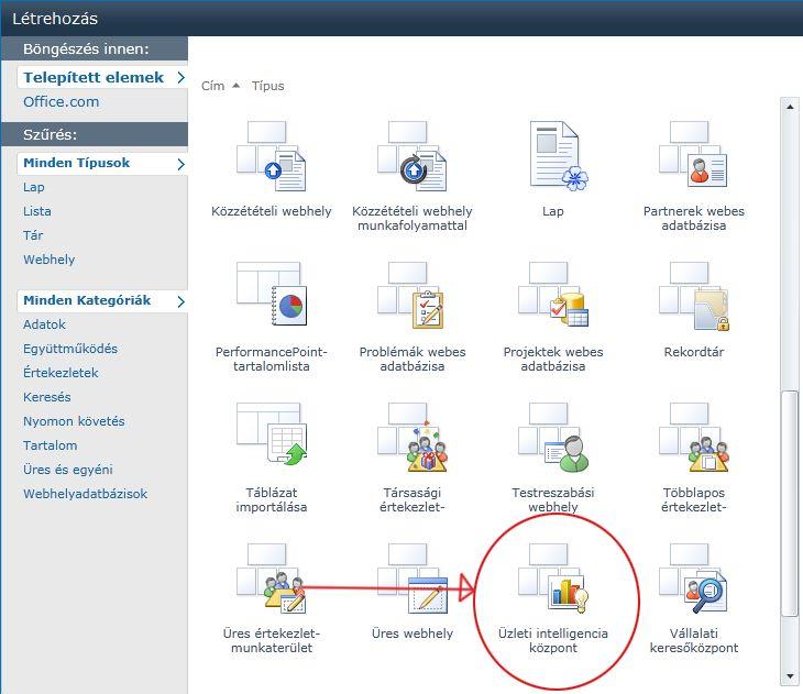 A webhely létrehozásakor számos beépített sablon közül választhat