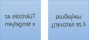 Példa a tükrözött szövegre: az első 180-fok forog az x tengelyen, a második pedig 180 fok az y tengelyen