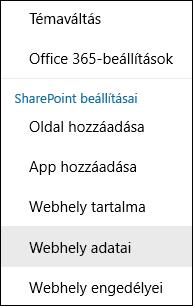 A SharePoint Webhely adatai menüpontjának képe.