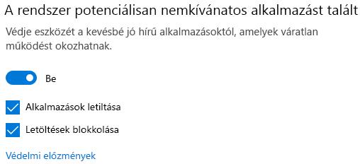 A vélhetően nemkívánatos alkalmazások letiltása a Windows 10-ben.