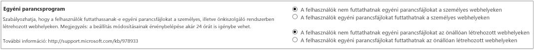 A SharePoint Felügyeleti központ Beállítások lapjának Egyéni parancsfájl szakasza
