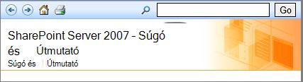 SharePoint 2007 – súgó ablaktábla fejléce