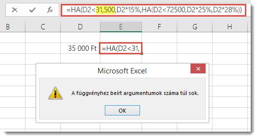 Üzenet az Excelben, ha vesszőt használ egy értékben