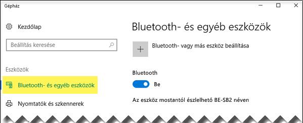 Válassza a bal oldalon a Bluetooth- és egyéb eszközök lehetőséget