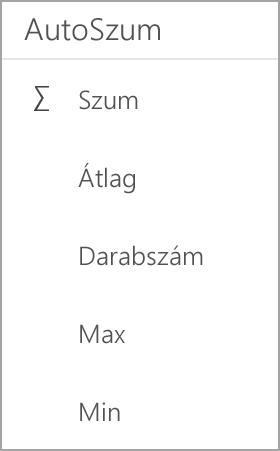 Android-táblagépen Excel összege
