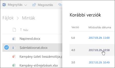 Képernyőkép: a onedrive üzleti fájl jobb oldali ablaktáblában jelenik meg a korábbi verziók