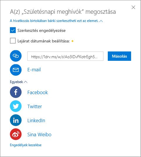 A OneDrive megosztási beállításai