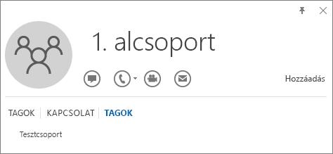 Az 1. alcsoport nevű csoport Outlook-névjegykártyájának Tagok lapjáról készült képernyőkép, amelyen látszik, hogy az 1. alcsoport a Tesztcsoport nevű csoport tagja.