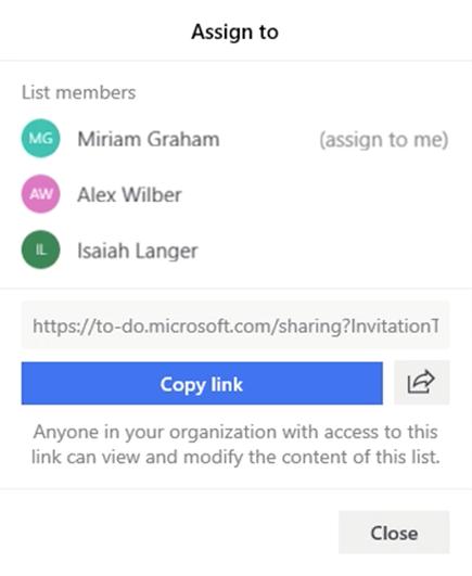 Képernyőkép, amelyen a hozzárendelés menü van megnyitva, és a lista tagjainak való hozzárendelésének lehetősége: Miriam Graham, Alex Wilber és Ézsaiás Lange, valamint a lista hivatkozásának és megosztásának lehetősége.
