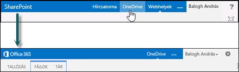 Az Office 365 részét képező OneDrive Vállalati verzió megnyitása a SharePoint OneDrive parancsával