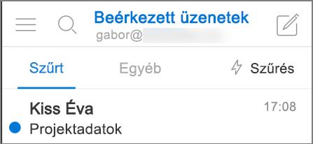 Az Outlook megjelenése iPhone-on.