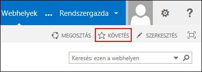 A SharePoint Online-webhely követése, és a hivatkozás elhelyezése az Office365 Webhelyek lapján.