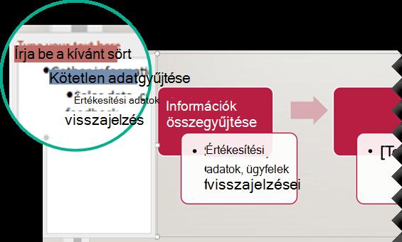 Írja be a grafikus szövegét a grafikus elemtől balra található szövegszerkesztőbe.