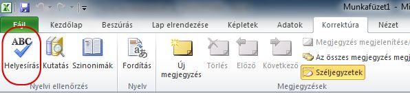 Az Excel menüszalagja a Korrektúra lap Helyesírás gombjával
