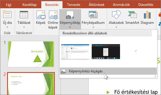 képernyő-kivágási legördülő lista a powerpointban