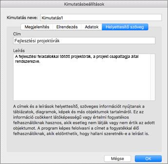 A Helyettesítő szöveg párbeszédpanel Excel-kimutatáshoz.