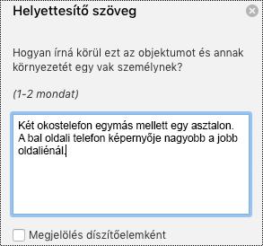 A helyettesítő szöveg ablaktábla a Mac Excelben