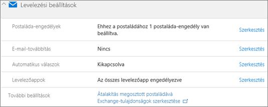 Képernyőkép: Felhasználói postaláda átalakítása megosztott postaládává