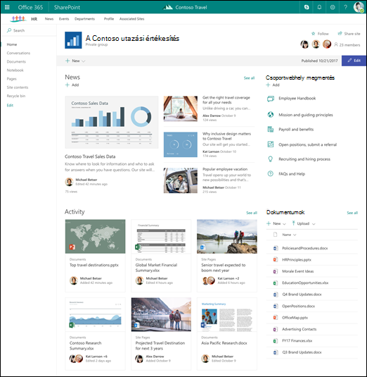 A központi webhelyhez társított SharePoint-webhely