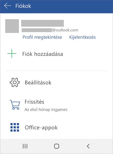 A Kijelentkezés elem az Android Office-ban