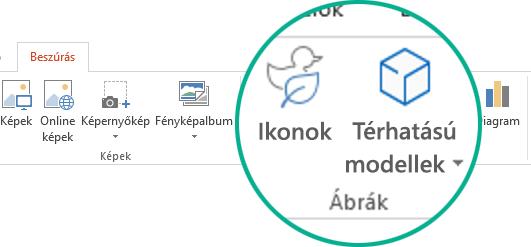 Az ikonok és térhatású modellek gombjai az eszköztár menüszalagjának Beszúrás lapján az Office 365-ben