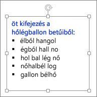 Formázás egy PowerPoint-szövegdobozban