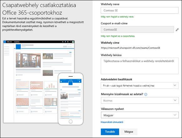 SharePoint-csoportwebhely létrehozása