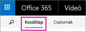 Kezdőlap gomb az Office 365 Videó portál felső navigációs sávján