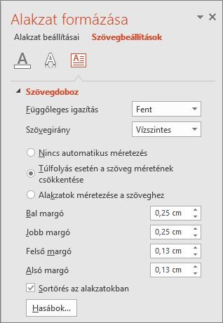 Alakzat formázása > Szövegbeállítás a PowerPointban