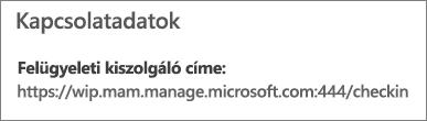 A kapcsolat adatainak mam és wpi szót tartalmazó URL-címe a Kezelő lapon
