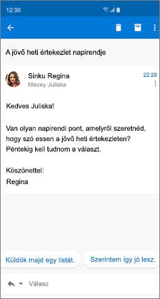 E-mail-üzenet két javasolt választal
