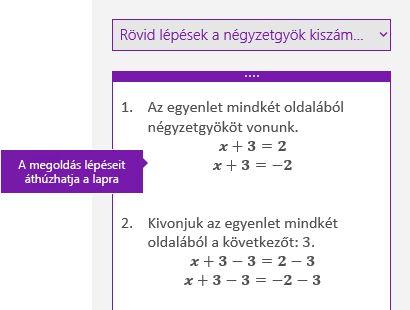 Az egyenlet megoldásának lépései a Matematika munkaablakban