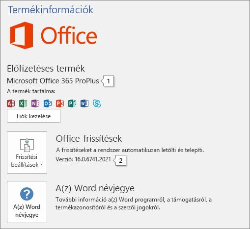 Képernyőkép: A Fiók lap, rajta az Office terméknevével és teljes verziószámával